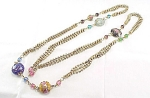 VINTAGE COSTUME JEWELRY - LONG WEDDING CAKE BEAD,  ART GLASS BEAD & RHINESTONE NECKLACE