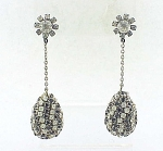 VINTAGE COSTUME JEWELRY - MOD BLACK & CLEAR DANGLING RHINESTONE PIERCED EARRINGS