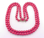 VINTAGE COSTUME JEWELRY - DOUBLE STRAND RED FACETED GLASS BEAD NECKLACE
