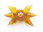 VINTAGE UNSIGNED MIRIAM HASKELL UNIQUE AMBER GLASS BROOCH