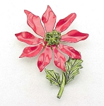 VINTAGE COSTUME JEWELRY - LARGE TIN & ENAMEL CHRISTMAS POINSETTIA FLOWER BROOCH