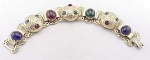VINTAGE COSTUME JEWELRY - RED, GREEN & BLUE RHINESTONE & CABACHON GOLD TONE BRACELET