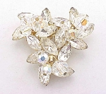 VINTAGE COSTUME JEWELRY - CLEAR NAVETTE RHINESTONE & DANGLING CRYSTAL BROOCH