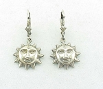 DANGLING STERLING SILVER SUN WITH SMILING FACE PIERCED EARRINGS