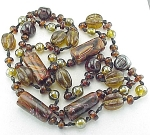VINTAGE COSTUME JEWELRY - LUSTRE GLASS BEAD NECKLACE WITH MURANO MILLEFIORI BEADS