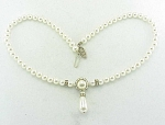 VINTAGE PEARL AND RHINESTONE RONDELLE NECKLACE - WEDDING OR PROM