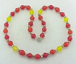 VINTAGE RED, ORANGE AND YELLOW FROSTED GLASS BEAD NECKLACE