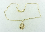 COSTUME JEWELRY - GOLD TONE CAMEO PENDANT NECKLACE SIGNED 1928