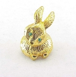 VINTAGE COSTUME JEWELRY - SMALL GOLD TONE RABBIT BUNNY TREMBLER BROOCH OR PIN