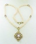 PEARL NECKLACE WITH AMETHYST RHINESTONE PENDANT SIGNED 1928