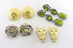 VINTAGE COSTUME JEWELRY - 4 PAIRS OF CLIP EARRINGS - TRIFARI, DALSHEIM, BIG CAT, RHINESTONES