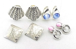 VINTAGE COSTUME JEWELRY - 4 PAIRS OF SILVER TONE CLIP EARRINGS - 2 WITH FAUX MOONSTONE