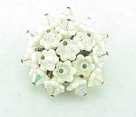 VINTAGE COSTUME JEWELRY - JAPAN WHITE GLASS FLOWER & CRYSTAL BROOCH