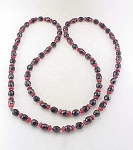 VINTAGE COSTUME JEWELRY - SILVER, RED GLASS & BLACK FACETED GLASS BEAD NECKLACE