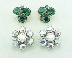 VINTAGE COSTUME JEWELRY - 2 PAIRS OF WEISS RHINESTONE CLIP EARRINGS