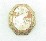 VINTAGE JEWELRY - 10K ROSE GOLD CAMEO BROOCH SIGNED O B