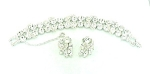 VINTAGE WEISS BRILLIANT RHINESTONE BRACELET AND CLIP EARRINGS SET