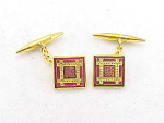 VINTAGE COSTUME JEWELRY - RED ENAMEL GOLD TONE CUFFLINKS