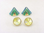 COSTUME JEWELRY - 2 PAIRS OF AVON PIERCED EARRINGS - RIVOLI RHINESTONE, ENAMEL