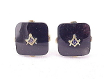 VINTAGE COSTUME JEWELRY - MASONIC MASONS BLACK GLASS GOLD TONE CUFFLINKS