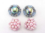 VINTAGE COSTUME JEWELRY - 2 PAIRS OF CLIP EARRINGS - BLUE GLASS, PINK CRYSTAL, RHINESTONES