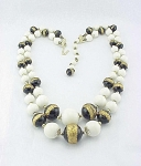 VINTAGE COSTUME JEWELRY - JAPAN WHITE, BLACK & GOLD GLASS BEAD DOUBLE STRAND NECKLACE