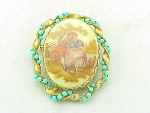 VINTAGE COSTUME JEWELRY - FRAGONARD ROMANTIC COUPLE BROOCH WITH TURQUOISE BEADS