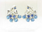 VINTAGE COSTUME JEWELRY - STAR BLUE MOONSTONE AND RHINESTONE CLIP EARRINGS