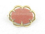 VINTAGE COSTUME JEWELRY - GOLDSTONE GOLD TONE BROOCH