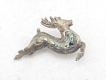 Click to view larger image of VINTAGE SIGNED TAXCO MEXICO STERLING SILVER AND ABALONE CHRISTMAS REINDEER BROOCH (Image1)