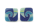 Click here to enlarge image and see more about item 07J2832: COSTUME JEWELRY - UNIQUE INLAID TURQUOISE, LAPIS AND JADE ENAMEL CLIP EARRINGS