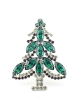 VINTAGE COSTUME JEWELRY - HOBE' EMERALD GREEN, RED & CLEAR RHINESTONE CHRISTMAS XMAS TREE BROOCH PIN