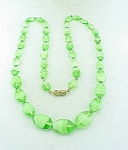 VINTAGE COSTUME JEWELRY - VENETIAN GREEN AND WHITE FLAT ART GLASS BEAD NECKLACE