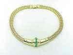 VINTAGE COSTUME JEWELRY - BROOKCRAFT GREEN & CLEAR RHINESTONE GOLD MESH CHOKER NECKLACE