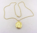 VINTAGE COSTUME JEWELRY - 24K GOLD PLATED NECKLACE WITH FLOWERS LOCKET