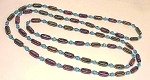 VINTAGE COSTUME JEWELRY - IRIDESCENT PURPLE & BLUE CARNIVAL ART GLASS BEAD FLAPPER NECKLACE