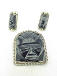 Click to view larger image of VINTAGE MEXICAN STERLING SILVER ONYX FACE OR MASK BROOCH AND EARRINGS (Image1)