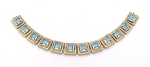 VINTAGE COSTUME JEWELRY - ART DECO STAMPED BRASS BLUE RHINESTONE BRACELET
