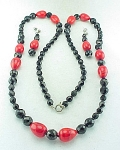 VINTAGE ART DECO BLACK RED ART GLASS BEAD NECKLACE & PIERCED EARRINGS