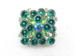 VINTAGE COSTUME JEWELRY - LARGE EMERALD GREEN & LIGHT GREEN RHINESTONE BROOCH