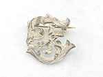 VINTAGE MEXICAN STERLING SILVER INITIAL F BROOCH WITH EAGLE 4 MARK