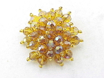 VINTAGE COSTUME JEWELRY - AMBER AURORA BOREALIS FACETED CRYSTAL BROOCH