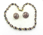 VENETIAN GOLD AND BLACK ART GLASS BEAD NECKLACE EARRINGS SIGNED ITALY