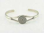 MEXICAN STERLING SILVER ABSTRACT DESIGN CUFF BRACELET SIGNED MEXICO 925