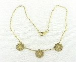 VINTAGE COSTUME JEWELRY - GOLD TONE FILIGREE NECKLACE SIGNED KIM