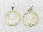 LARGE DANGLING MEXICAN STERLING SILVER ETCHED PIERCED EARRINGS SIGNED RVE
