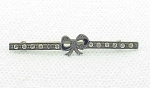 Click to view larger image of VICTORIAN STERLING SILVER RHINESTONE ENAMEL BOW BAR PIN BROOCH (Image1)