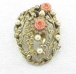 Click to view larger image of VINTAGE COSTUME JEWELRY - MARCASITE, PEARL & CARVED CORAL FLOWERS DRESS CLIP (Image1)