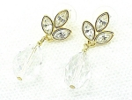 COSTUME JEWELRY - NAPIER BRILLIANT DANGLING CRYSTAL & RHINESTONE PIERCED EARRINGS