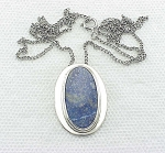 VINTAGE COSTUME JEWELRY - STERLING SILVER & LAPIS LAZULI PENDANT NECKLACE